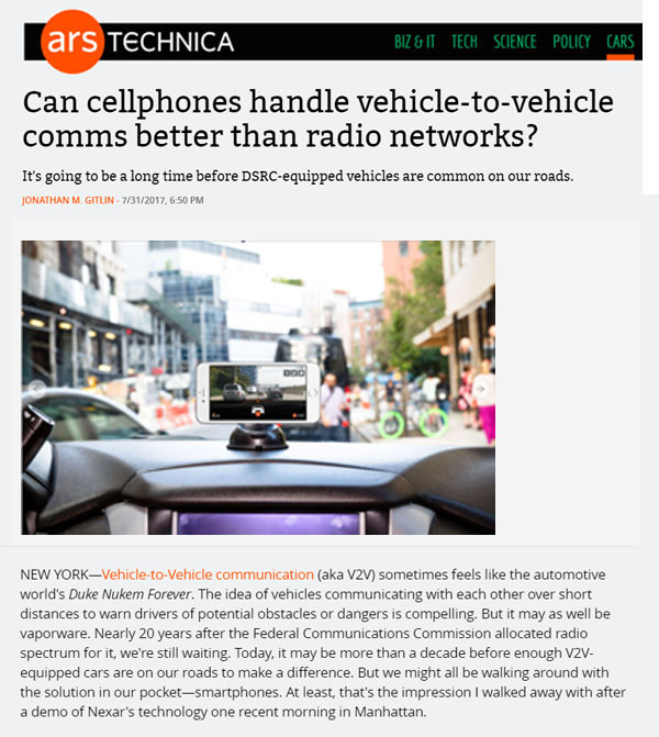 ArsTechnica: Can cellphones handle vehicle-to-vehicle comms better than radio networks?