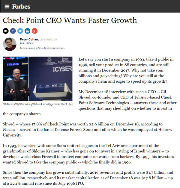Forbes: Check Point CEO Wants Faster Growth