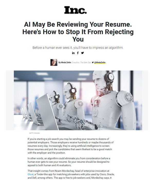 Inc.: AI May Be Reviewing Your Resume. Here's How to Stop It From Rejecting You