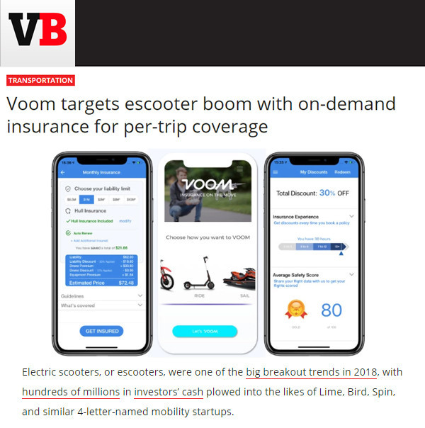 VentureBeat: Voom targets escooter boom with on-demand insurance for per-trip coverage
