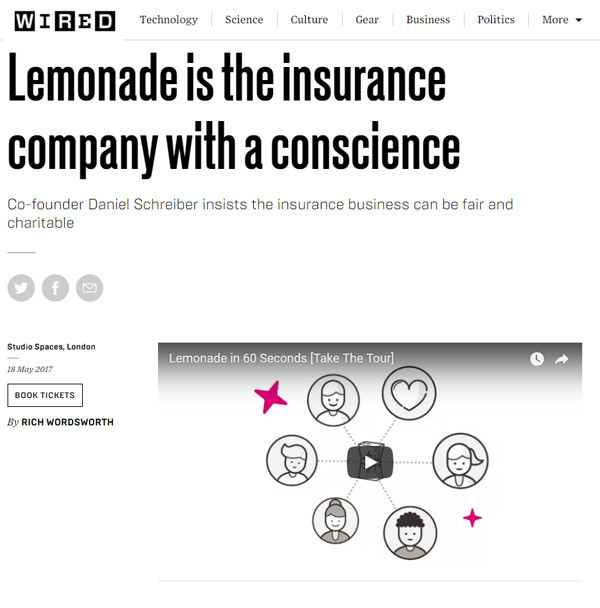 WIRED: Lemonade is the insurance company with a conscience