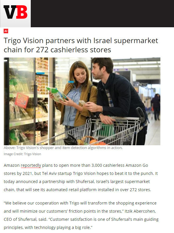 VentureBeat: Trigo Vision partners with Israel supermarket chain for 272 cashierless stores