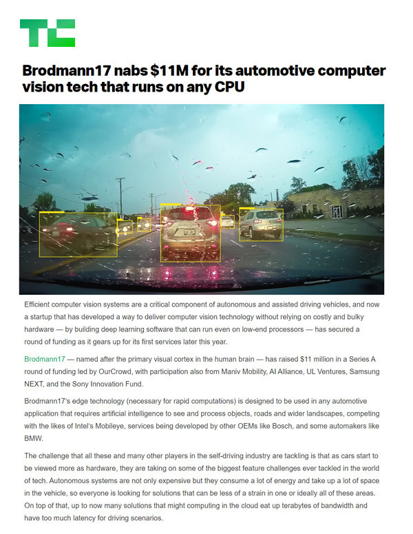 Techcrunch: Brodmann17 nabs $11M for its automotive computer vision tech that runs on any CPU