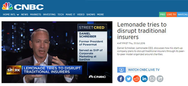 CNBC: Lemonade tries to disrupt traditional insurers
