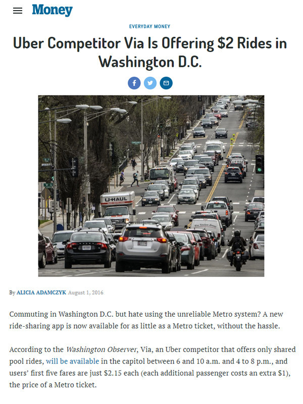 TIME Money: Uber Competitor Via Is Offering $2 Rides in Washington D.C.