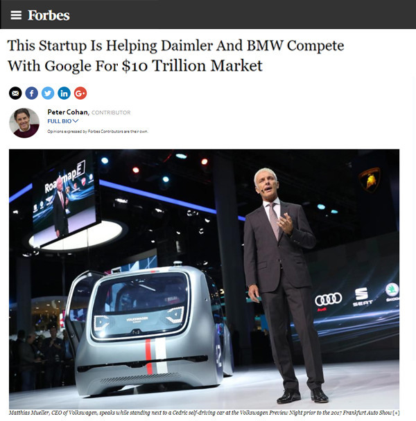 Forbes: This Startup Is Helping Daimler And BMW Compete With Google For $10 Trillion Market