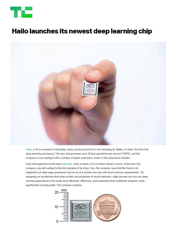 Techcrunch: Hailo launches its newest deep learning chip