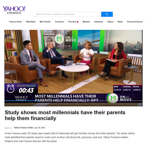 Yahoo! Finance: Study shows most millennials have their parents help them financially