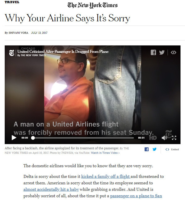 New York Times: Why Your Airline Says It's Sorry